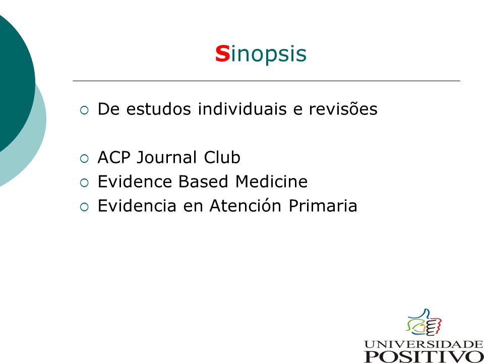 Sinopsis De estudos individuais e revisões ACP Journal Club