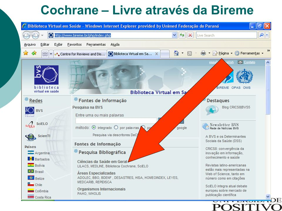 Cochrane – Livre através da Bireme
