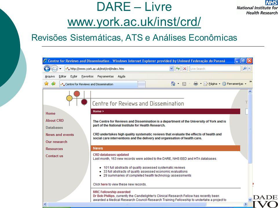 DARE – Livre www.york.ac.uk/inst/crd/ Revisões Sistemáticas, ATS e Análises Econômicas
