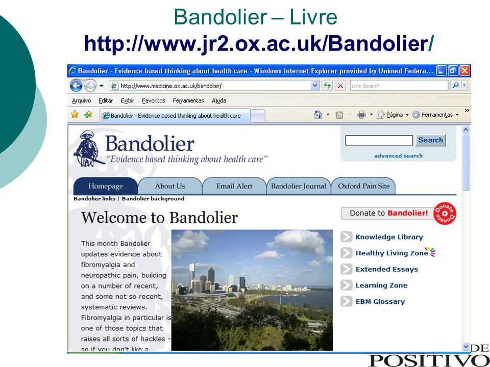Bandolier – Livre http://www.jr2.ox.ac.uk/Bandolier/