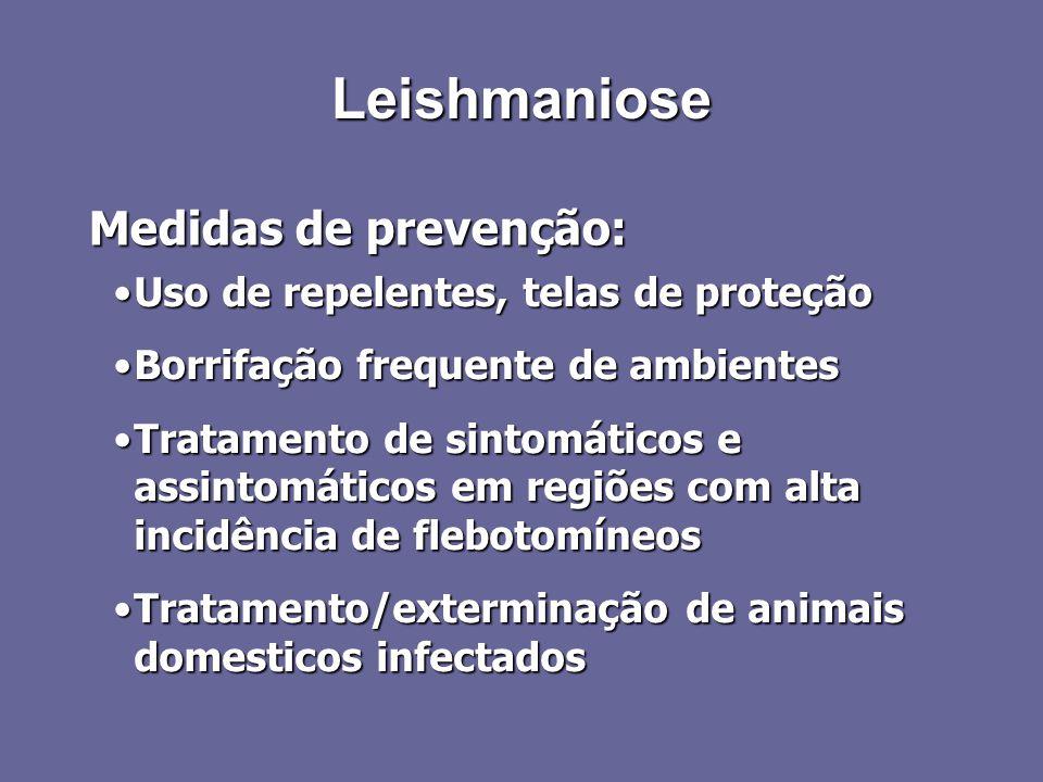 Leishmaniose Medidas de prevenção: