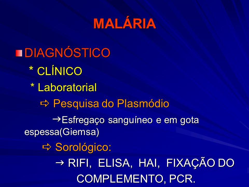 MALÁRIA DIAGNÓSTICO * CLÍNICO * Laboratorial  Pesquisa do Plasmódio