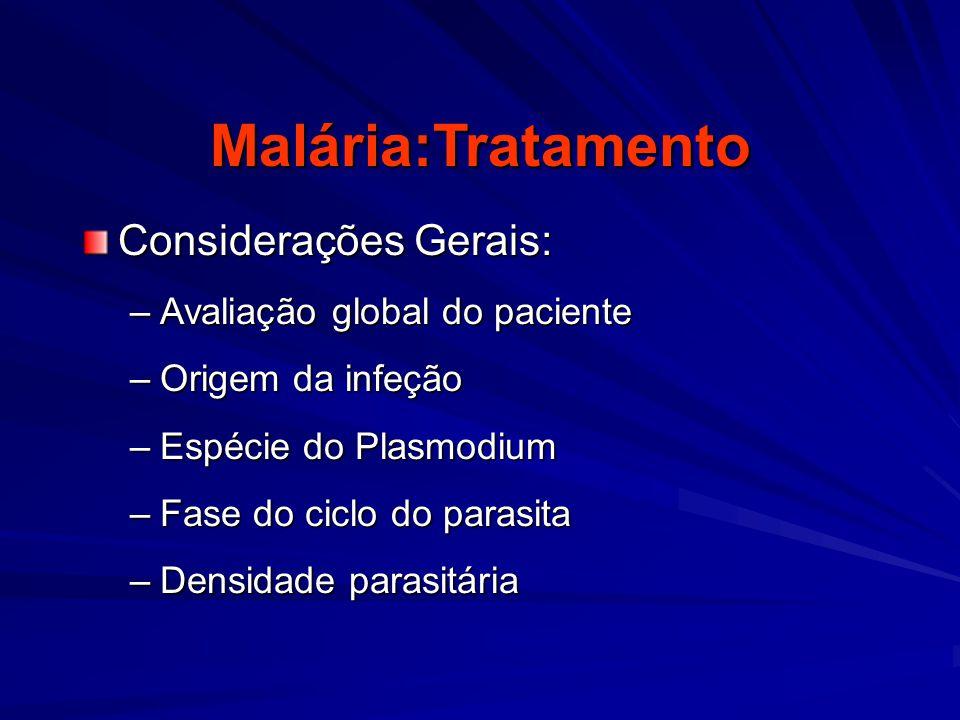Malária:Tratamento Considerações Gerais: Avaliação global do paciente