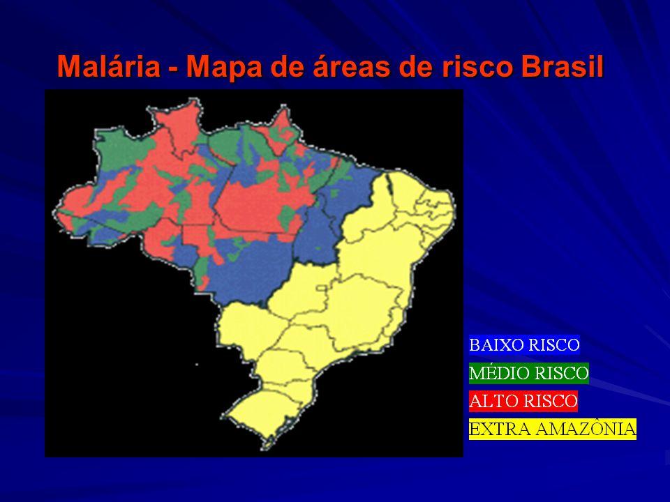 Malária - Mapa de áreas de risco Brasil