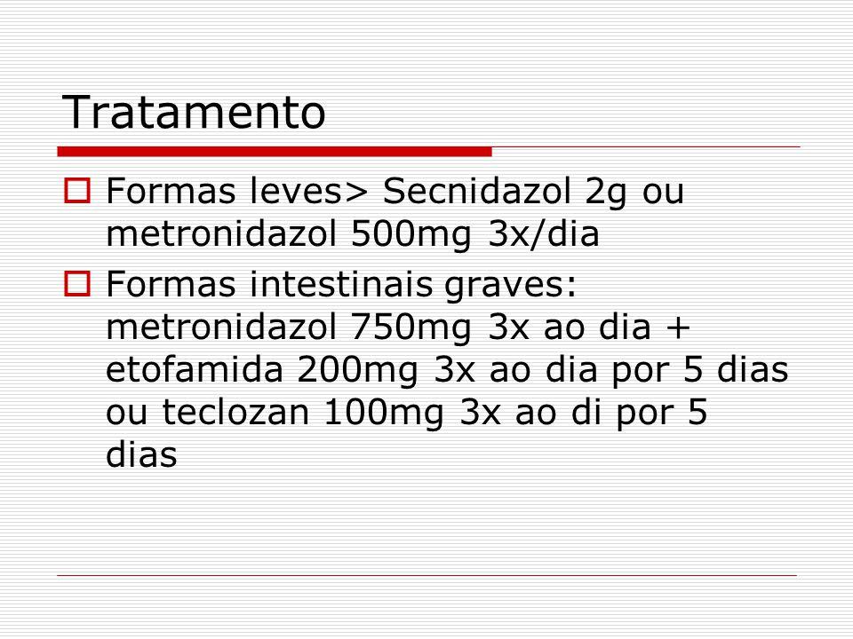 Tratamento Formas leves> Secnidazol 2g ou metronidazol 500mg 3x/dia
