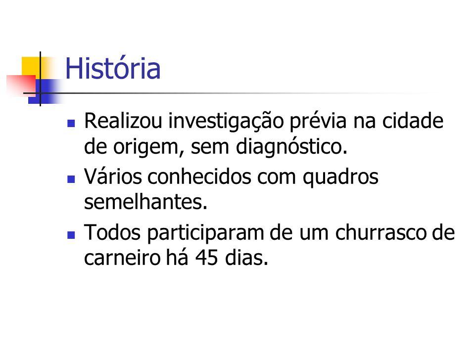 História Realizou investigação prévia na cidade de origem, sem diagnóstico. Vários conhecidos com quadros semelhantes.
