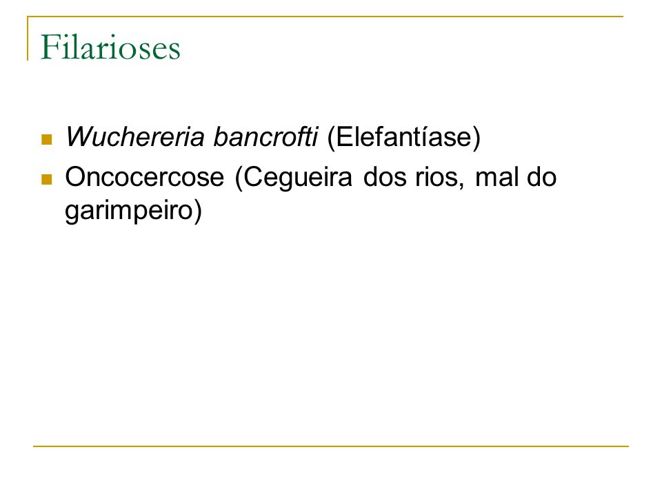 Filarioses Wuchereria bancrofti (Elefantíase)