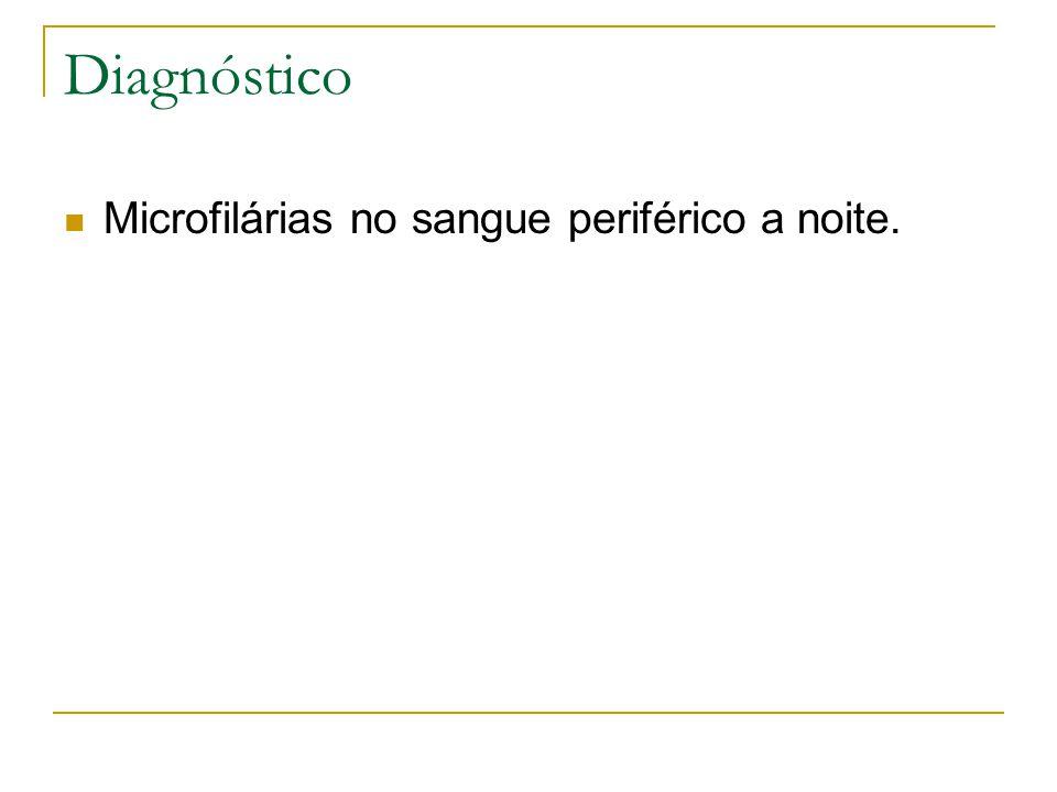 Diagnóstico Microfilárias no sangue periférico a noite.