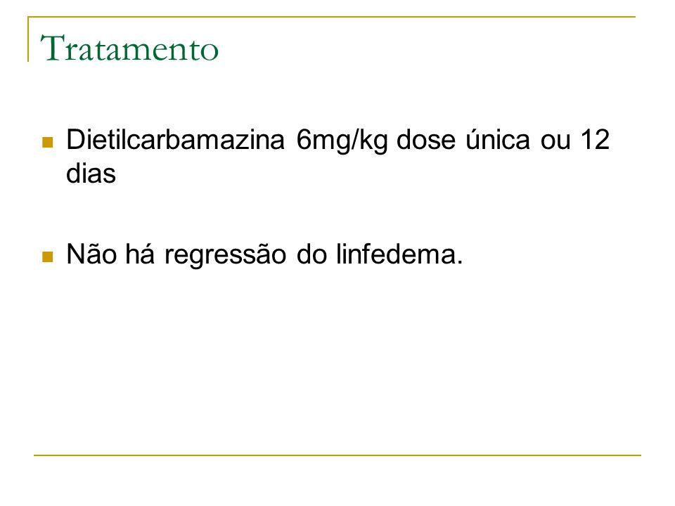 Tratamento Dietilcarbamazina 6mg/kg dose única ou 12 dias