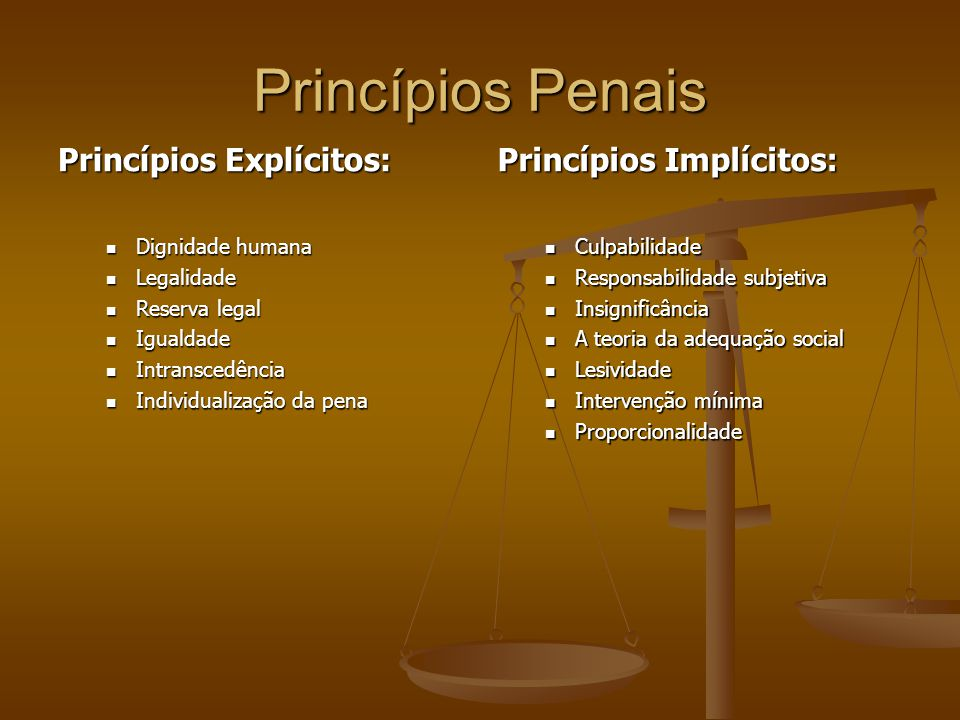 Princípios Penais Princípios Explícitos: Princípios Implícitos: