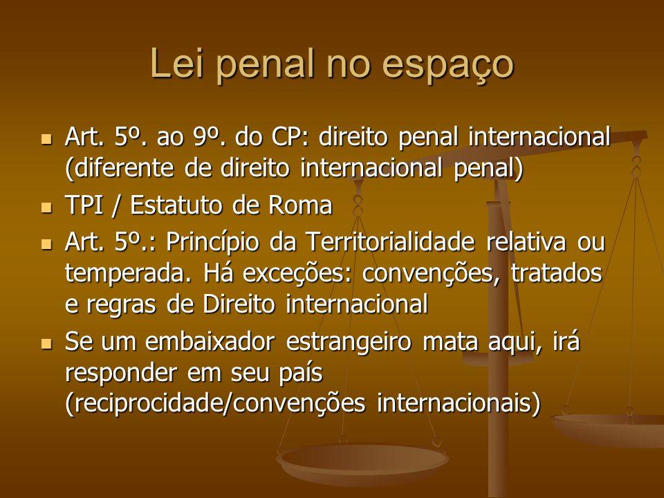 Lei penal no espaço Art. 5º. ao 9º. do CP: direito penal internacional (diferente de direito internacional penal)