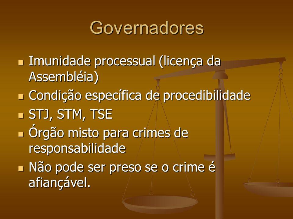 Governadores Imunidade processual (licença da Assembléia)