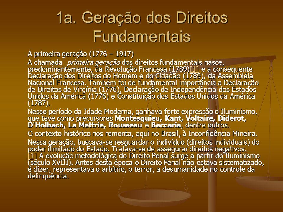 1a. Geração dos Direitos Fundamentais