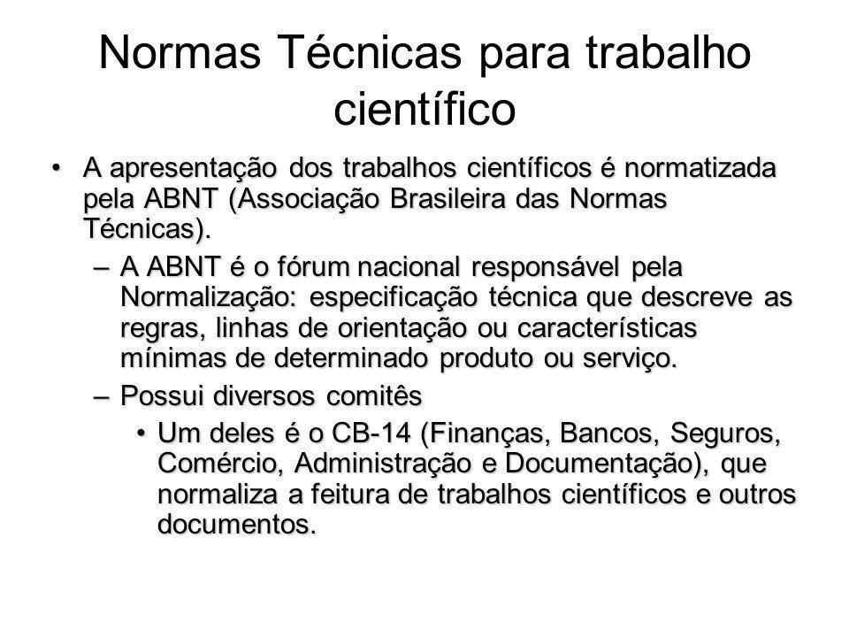 Normas Técnicas para trabalho científico