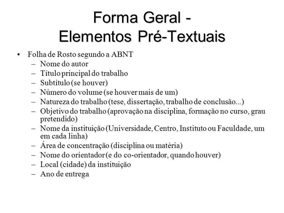 Forma Geral - Elementos Pré-Textuais