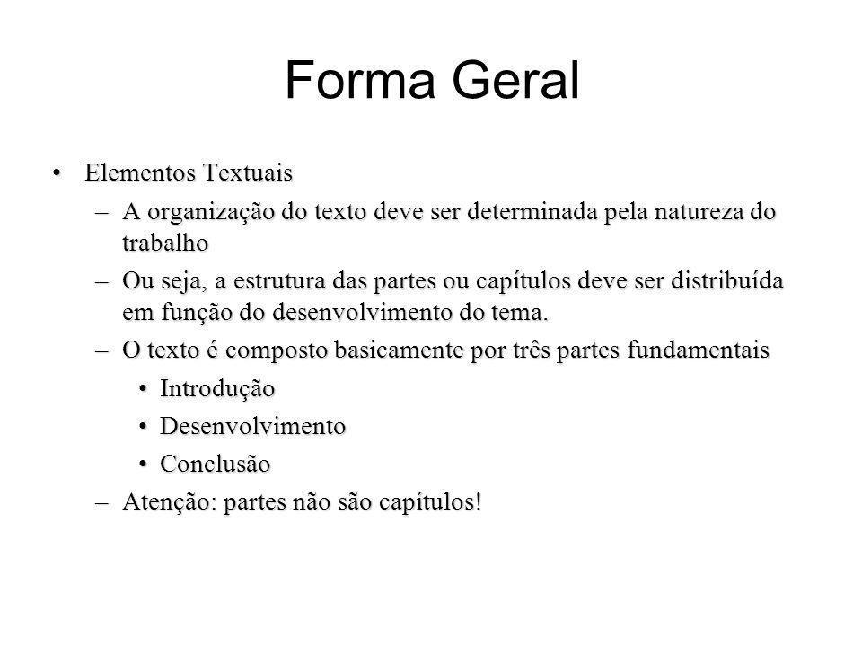 Forma Geral Elementos Textuais