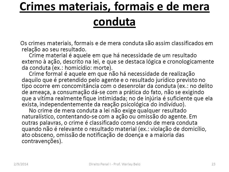 Crimes materiais, formais e de mera conduta