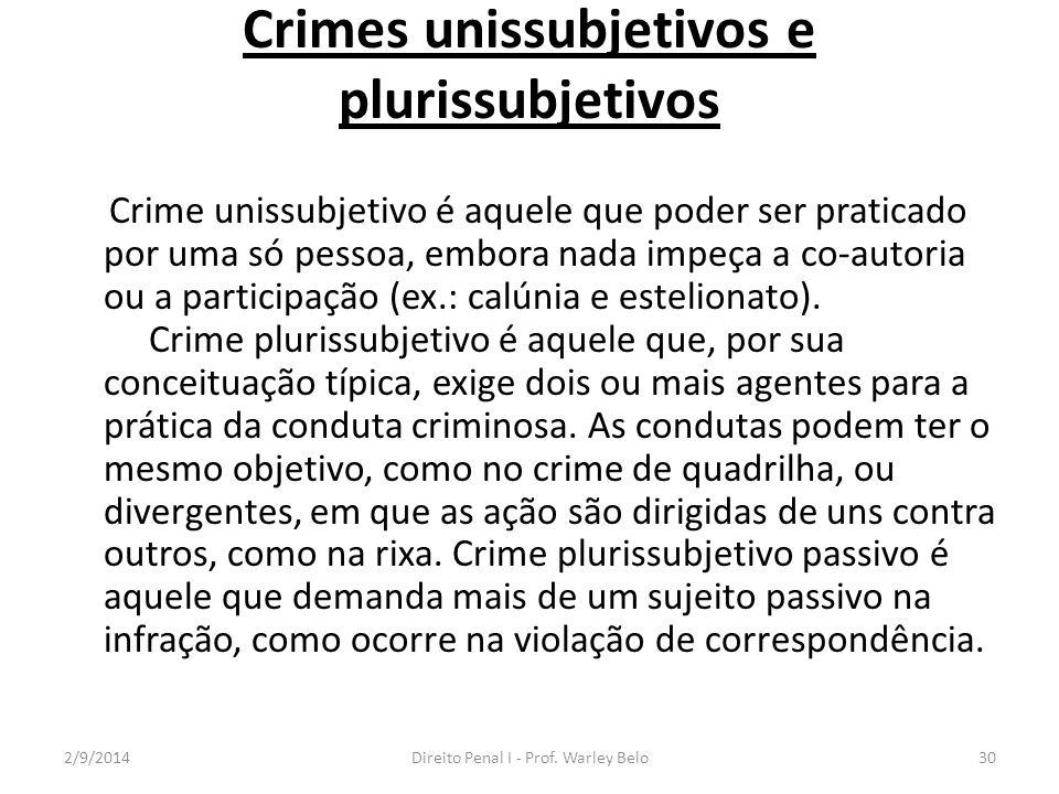 Crimes unissubjetivos e plurissubjetivos