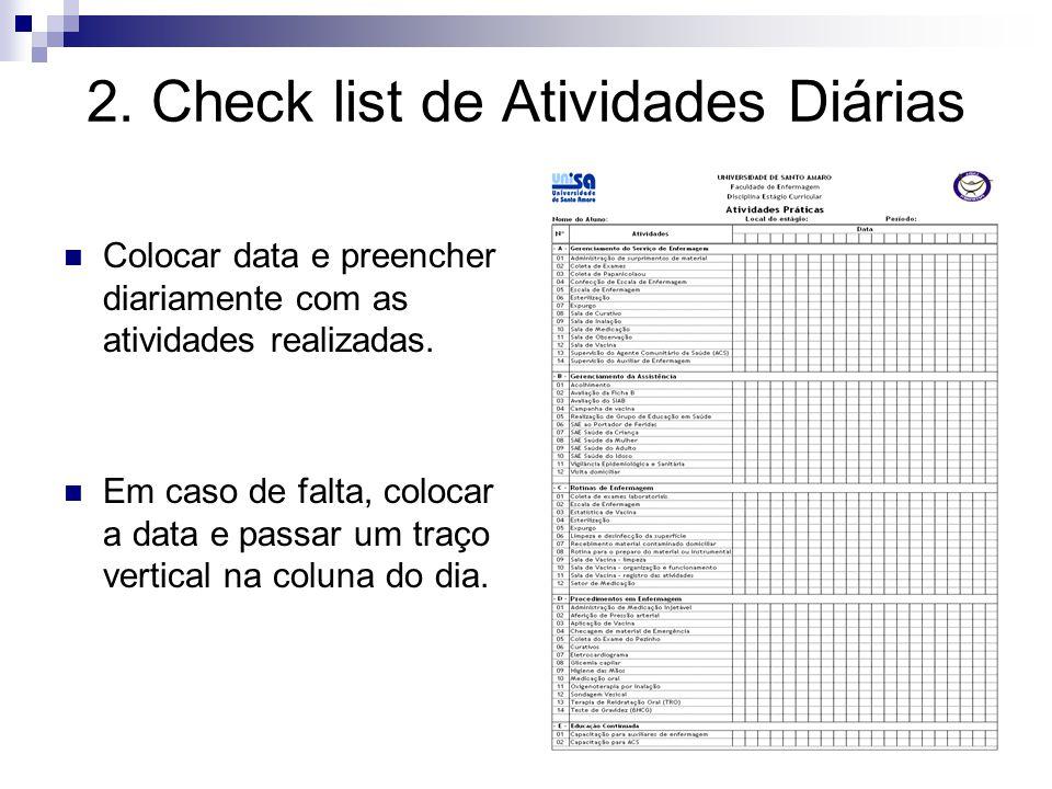 2. Check list de Atividades Diárias