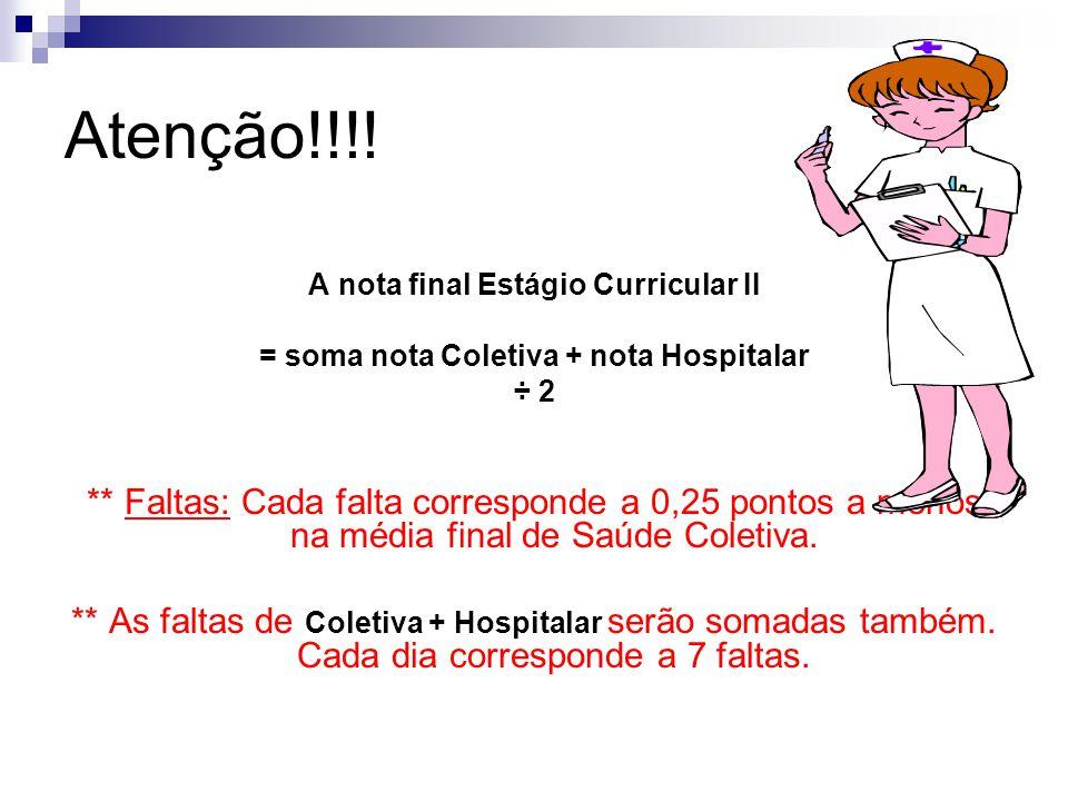 Atenção!!!! A nota final Estágio Curricular II. = soma nota Coletiva + nota Hospitalar. ÷ 2.