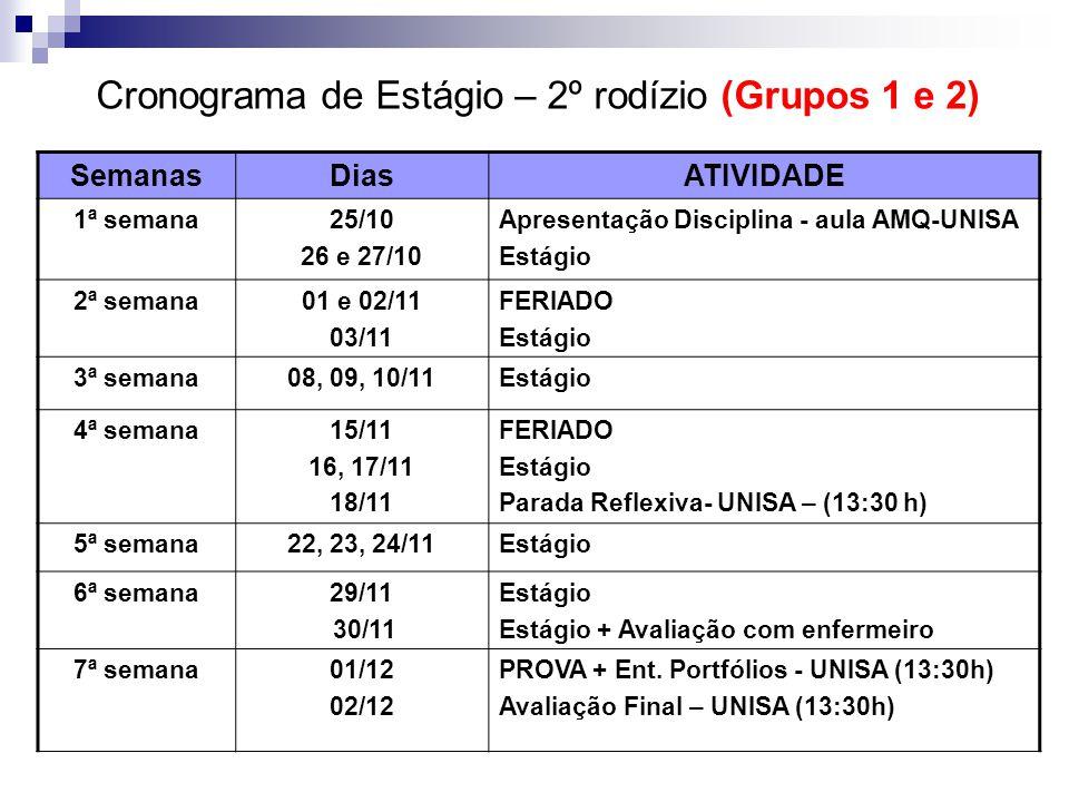 Cronograma de Estágio – 2º rodízio (Grupos 1 e 2)