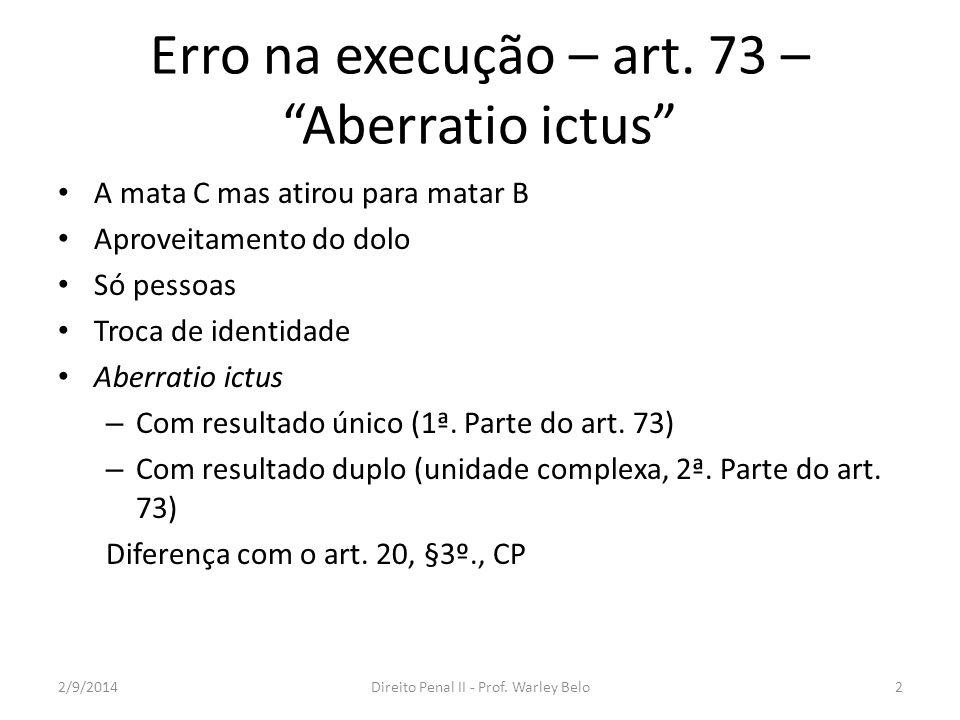 Erro na execução – art. 73 – Aberratio ictus