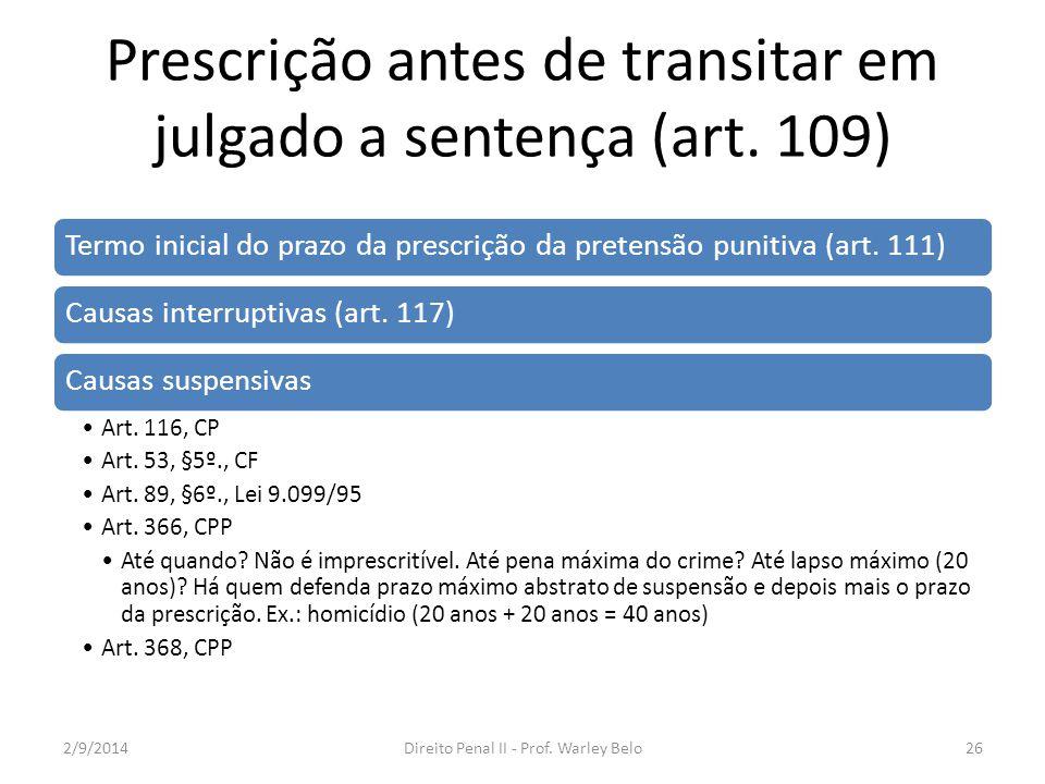 Prescrição antes de transitar em julgado a sentença (art. 109)