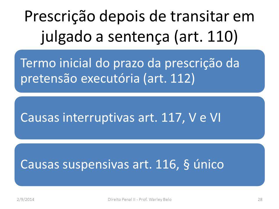 Prescrição depois de transitar em julgado a sentença (art. 110)