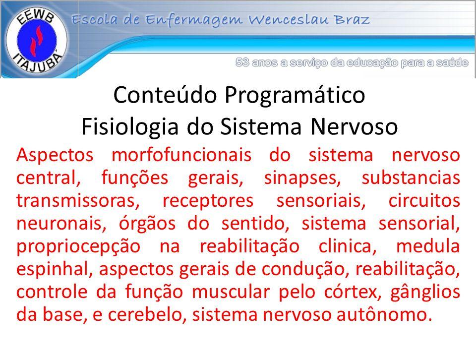 Conteúdo Programático Fisiologia do Sistema Nervoso