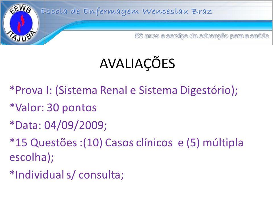 AVALIAÇÕES *Prova I: (Sistema Renal e Sistema Digestório);