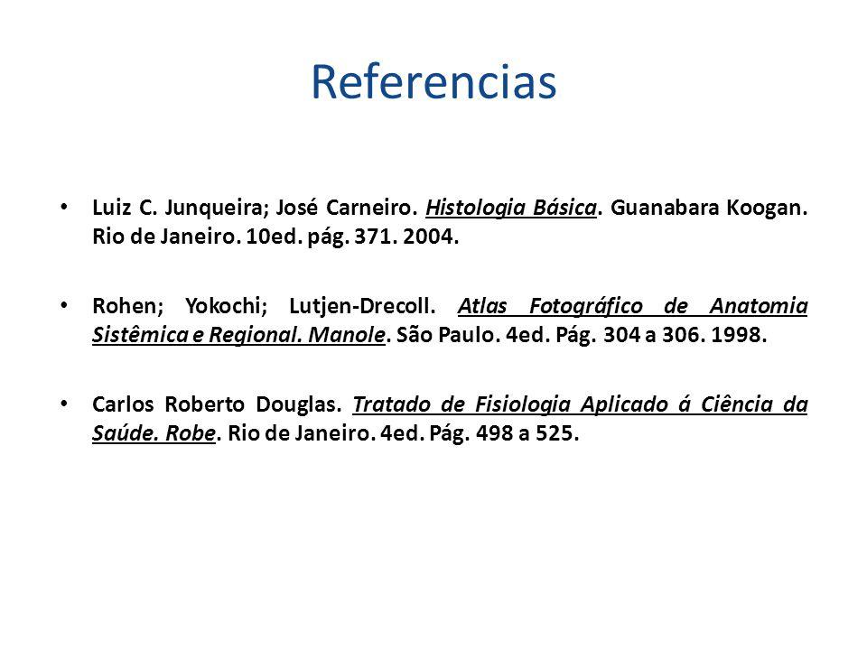 Referencias Luiz C. Junqueira; José Carneiro. Histologia Básica. Guanabara Koogan. Rio de Janeiro. 10ed. pág. 371. 2004.