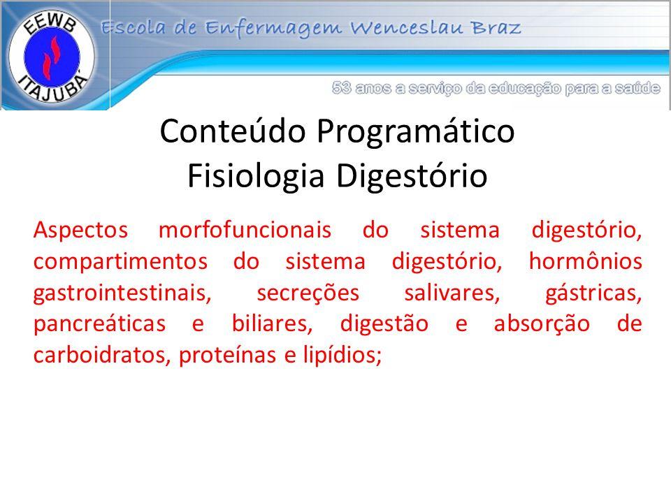 Conteúdo Programático Fisiologia Digestório