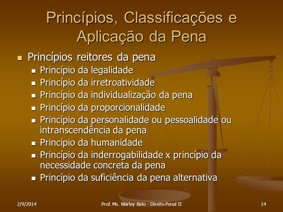 Princípios, Classificações e Aplicação da Pena
