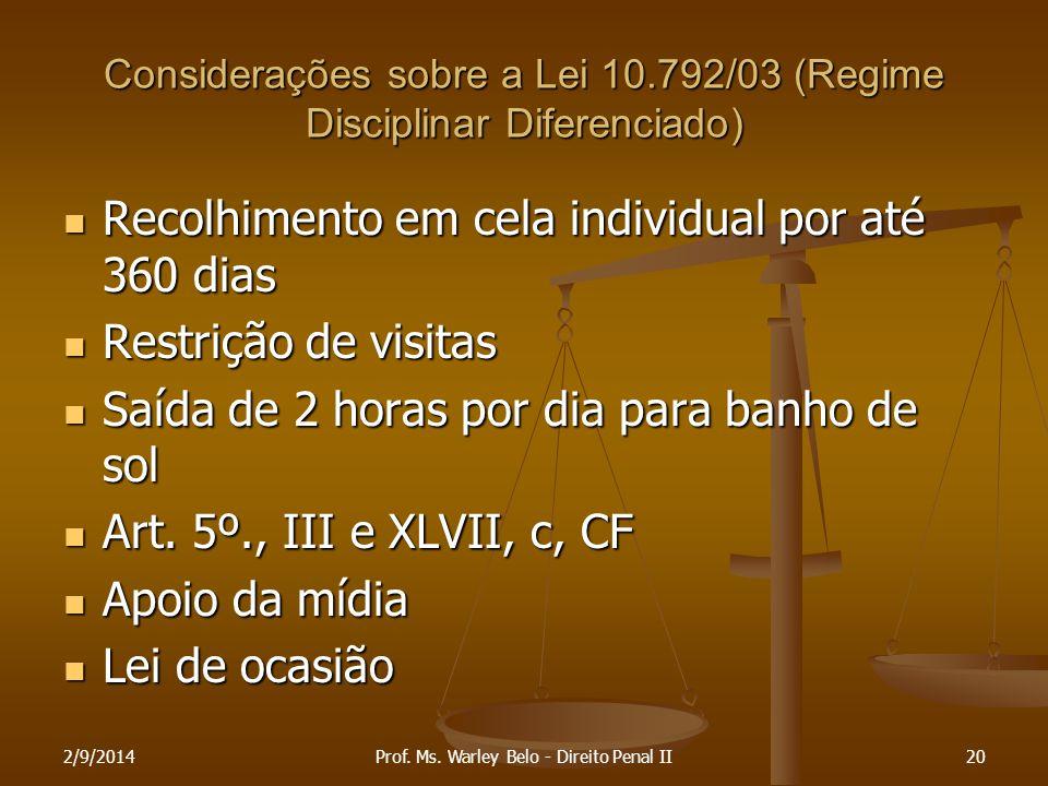 Considerações sobre a Lei 10.792/03 (Regime Disciplinar Diferenciado)