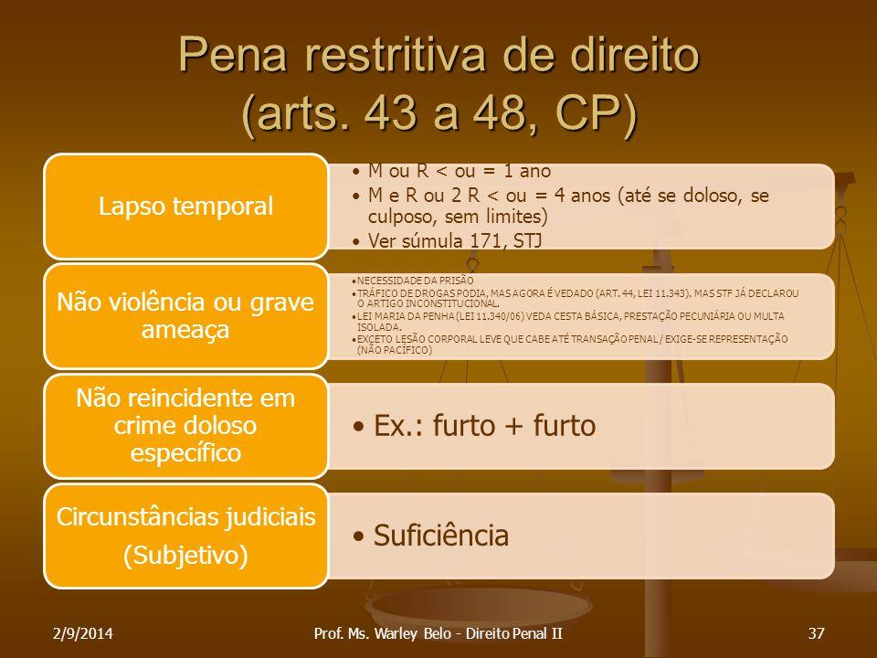Pena restritiva de direito (arts. 43 a 48, CP)