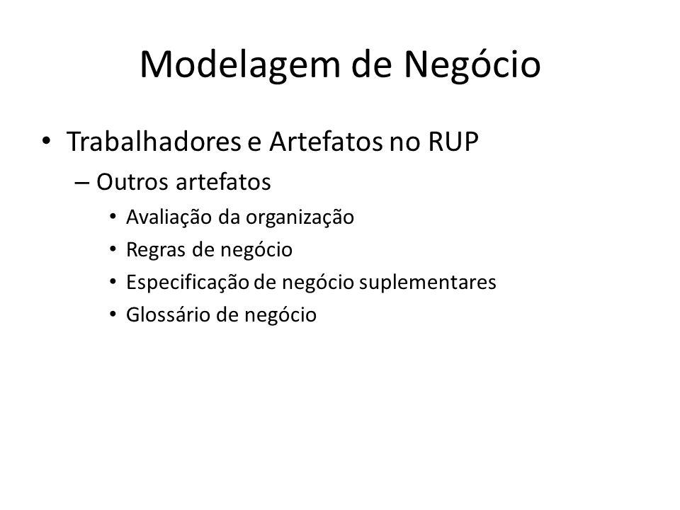 Modelagem de Negócio Trabalhadores e Artefatos no RUP Outros artefatos