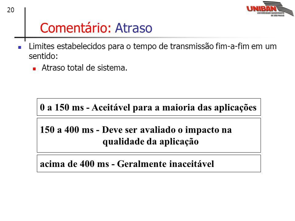 Comentário: Atraso Limites estabelecidos para o tempo de transmissão fim-a-fim em um sentido: Atraso total de sistema.