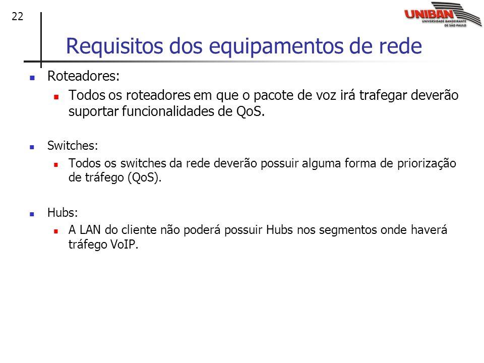 Requisitos dos equipamentos de rede