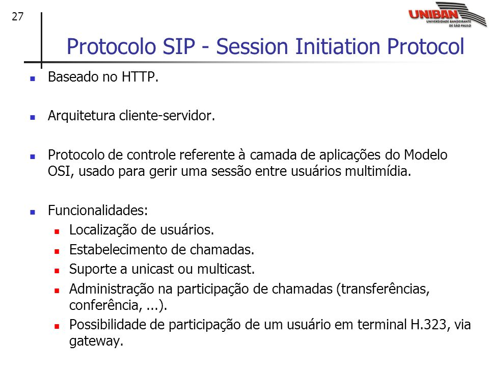 Protocolo SIP - Session Initiation Protocol