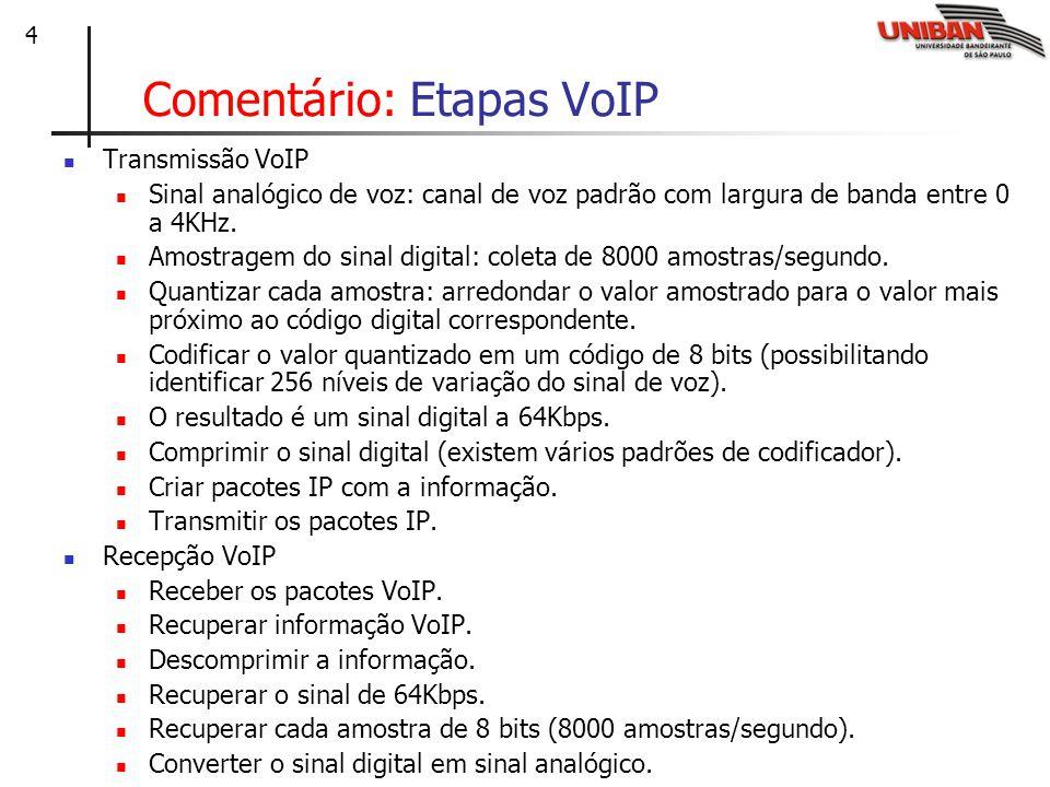 Comentário: Etapas VoIP