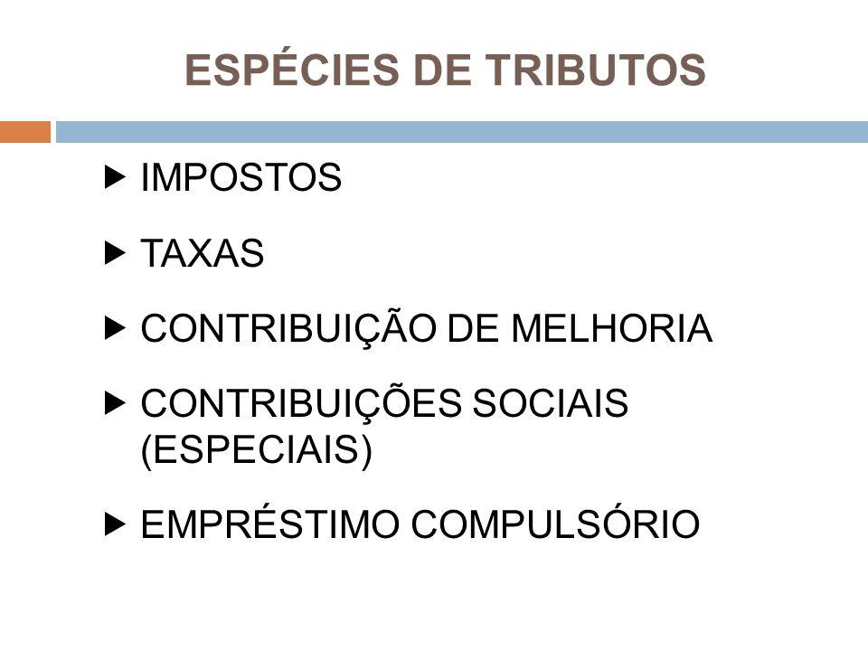 ESPÉCIES DE TRIBUTOS IMPOSTOS TAXAS CONTRIBUIÇÃO DE MELHORIA