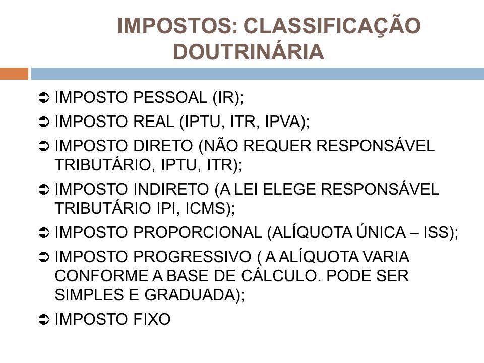 IMPOSTOS: CLASSIFICAÇÃO DOUTRINÁRIA