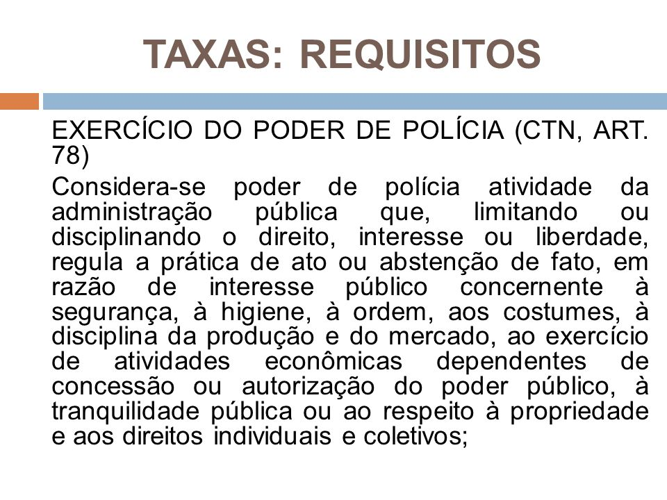 TAXAS: REQUISITOS