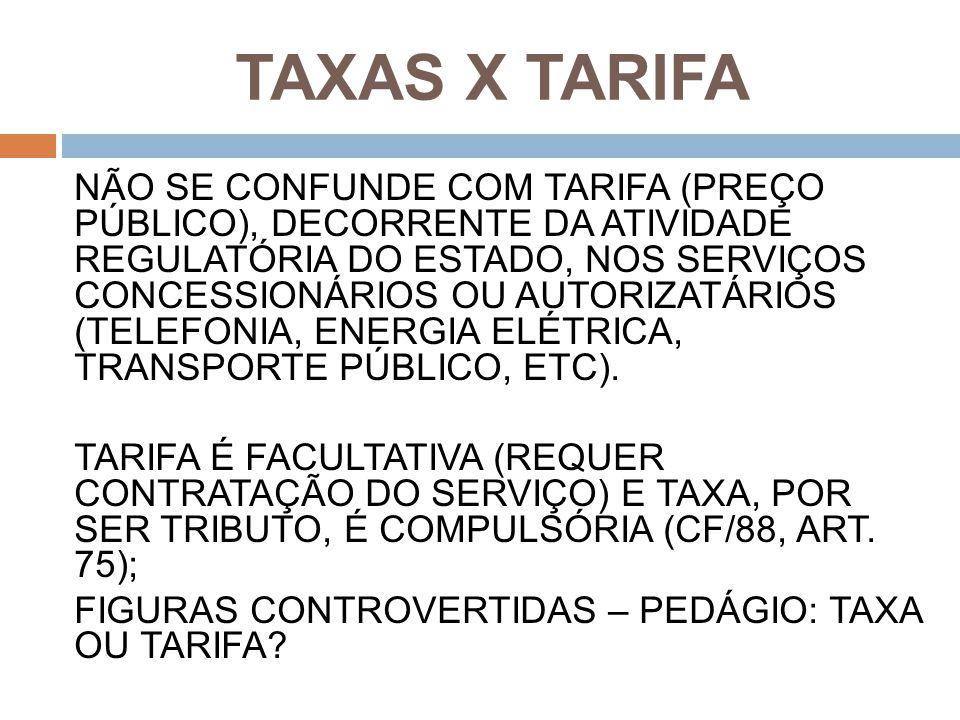 TAXAS X TARIFA
