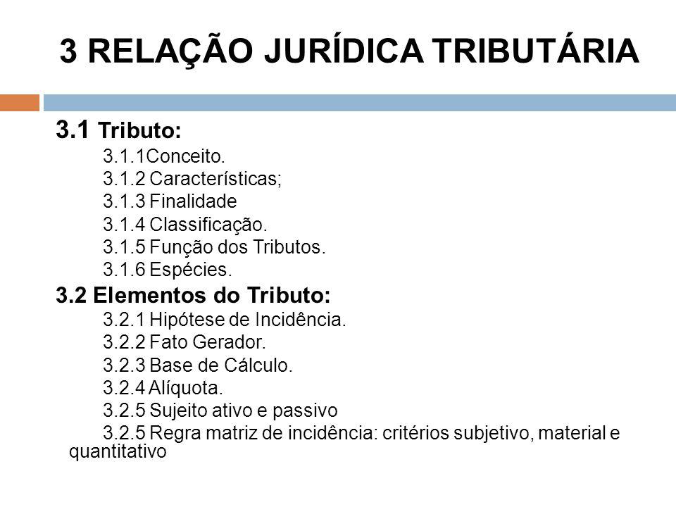 3 RELAÇÃO JURÍDICA TRIBUTÁRIA