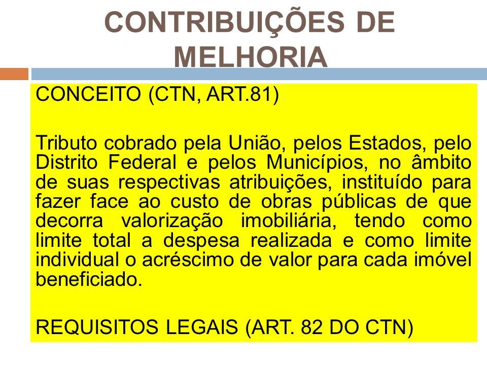 CONTRIBUIÇÕES DE MELHORIA