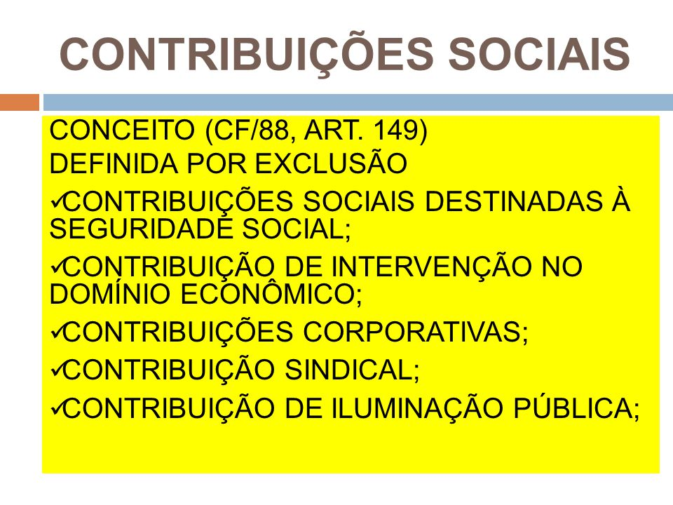 CONTRIBUIÇÕES SOCIAIS