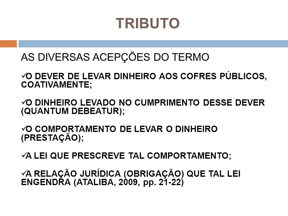 TRIBUTO AS DIVERSAS ACEPÇÕES DO TERMO