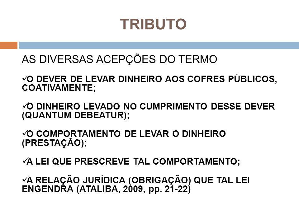 TRIBUTO AS DIVERSAS ACEPÇÕES DO TERMO