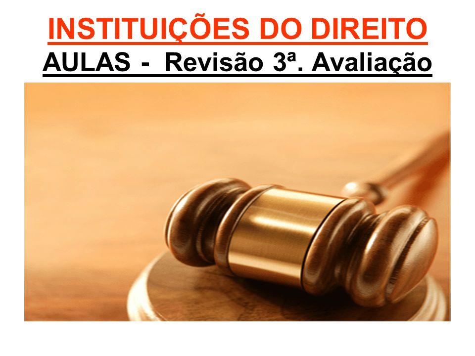 INSTITUIÇÕES DO DIREITO AULAS - Revisão 3ª. Avaliação
